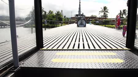 ss : HONOLULU, OAHU, HAWAII, USA - AUGUST 21, 2016: exit stairs from torpedo room to the deck of USS Bowfin Submarine SS-287 at Pearl Harbor, a military Hawaiian port in Oahu island.