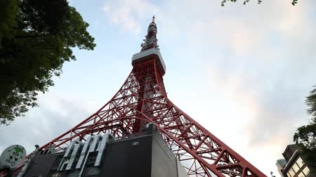 prospective : Tokyo, Japan - April 23, 2017:Bottom view time lapse of Tokyo Tower at night, Minato district. High 333 meters, the Tokyo Tower is Japans second-highest artificial structure.