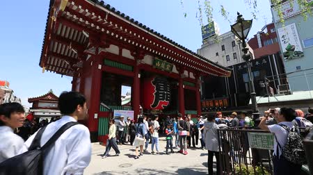 kaminarimon : Tokyo, Japan - April 19, 2017: crowd of tourists to Kaminarimon Gate of Senso-ji Temple in Asakusa area. The Japanese word on the lantern means THUNDER GATE. Sensoji is the oldest temple in Tokyo.