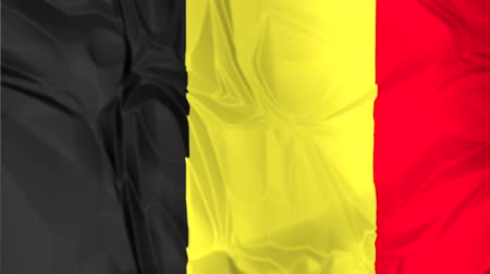 sovereign military : The national waving flag of Belgium. black, yellow and red background, 3d effect. Stock Footage