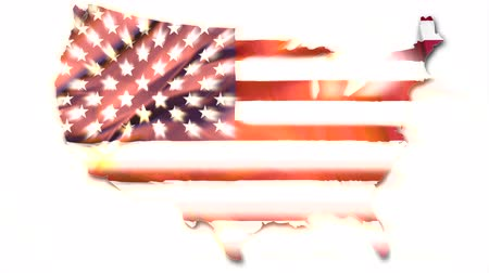 vlastenectví : The national US flag in map of United States with shining back light isolated on white background.