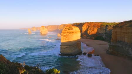 campbell : The rock stacks that comprise the Twelve Apostles at sunset in Port Campbell National Park. Great Ocean Road, Victoria State, Australia.