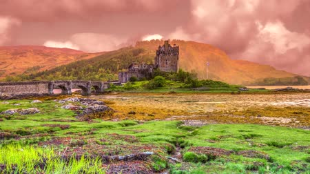 felvidéki : Eilean Donan Castle at sunset, Dornie, Kyle of Lochalsh in Scotland, United Kingdom
