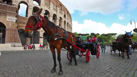 amphitheatrum : Rome, Italy - May 12, 2016: carriage at Coliseum, Colosseum, the largest amphitheater in the world and one of the symbols of Italy.