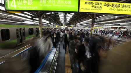 chuo city : Tokyo, Japan - April 17, 2017: time lapse of commuters at rush hour in Shinjuku Station. Yamanote Line connects all metro lines and Sobu Line to a slower metro service that crosses the Yamanote Stock Footage