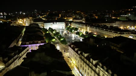 miradouro : Scenic aerial view of Rossio Square or Pedro IV Square in Lisbon downtown, Portugal, from panoramic platform of Elevador de Santa Justa. Architecture background. Urban cityscape skyline. Night scene.