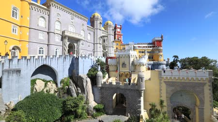 prospective : Architecture background. Pena National Palace, one of seven wonders of Portugal and Unesco Heritage Site. Pena Castle is a popular landmark. Municipality of Sintra near Lisbon. Sunny day, timelapse.