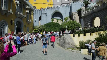 prospective : SINTRA, PORTUGAL - AUGUST 25, 2017: Pena National Palace entrance, in Portuguese Palacio da Pena or Castelo da Pena, Sintra, near Lisbon, sunny day. Unesco Heritage and one Seven Wonders of Portugal.