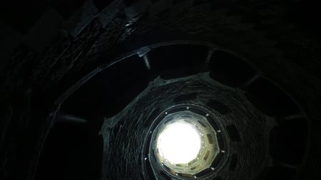 regaleira : Background architecture. Bottom view of Masonic Initiation well, the spiral staircase of Quinta da Regaleira in Sintra, Portugal. Stock Footage