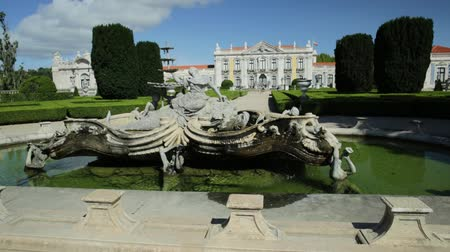 palacio real : Baroque fountain at main entrance of gardens of Queluz, National Palace in Sintra, Lisbon district, Portugal. the Versailles of Portugal.