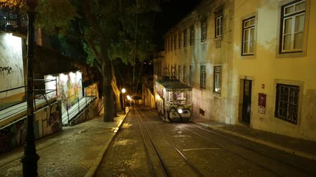 gloria : Lisbon, Portugal - August 24, 2017: Elevador da Gloria, famous funicular from the Restauradores Square to Bairro Alto viewpoints of Lisbon. Urban Lisbon cityscape by night departing going down.