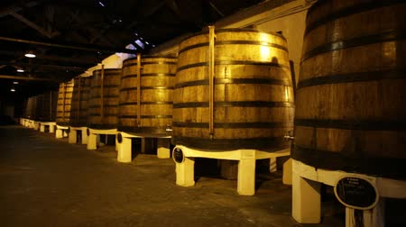 vila : Porto, Portugal - August 13, 2017: wine big barrels in wine cellar of Ferreira Winery in Vila Nova de Gaia, one of most popular wine tasting tours founded by a family of winemakers from Douro in 1751. Stock Footage