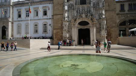 terreiro : Coimbra, Portugal - August 14, 2017: fountain in Praca Oito de Maio or Terreiro de Santa Cruz, a square in lower Coimbra, the medieval part of city. Coimbra is known for oldest university in Portugal.