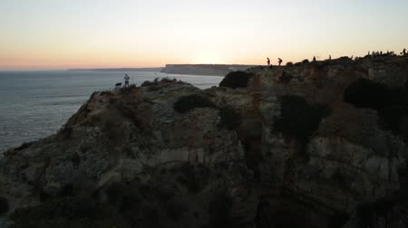 ponta da piedade : Time lapse of the cliff of Farol da Ponta da Piedade in Lagos town, Algarve Region, Portugal by sunset light.
