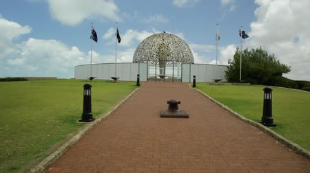prospective : The dome of soul of the HMAS Sydney II Memorial in Geraldton, Western Australia. Sunny day with blue sky. Famous place in Geraldton. POV prospective view. Stock Footage
