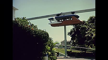 seaquarium : Miami, Florida, United States - Circa 1978: flyover funicular with tourists on holiday at Miami Seaquarium in 70s. Historical United States archive of America in 1970s. Stock Footage