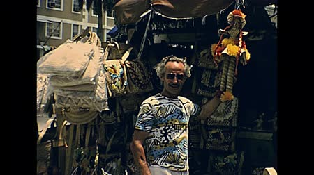 seventy : Nassau, Bahamas - Circa 1978: handicraft products in Nassau Straw Market in New Providence island with typical local products in 70s. The historical Bahamas in 1970s.