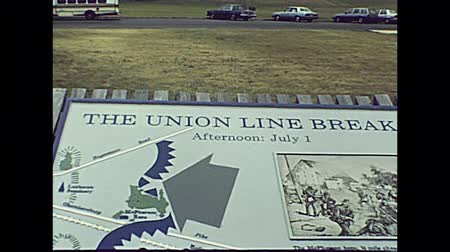 visitante : Gettysburg, Pennsylvania, United States - in 1980: historical Gettysburg national military park entrance and visitor center. USA archival restored footage in 80s. Statues, cannons, and war monuments.