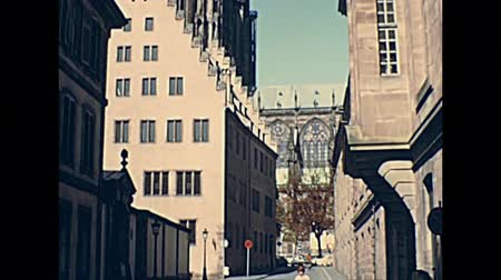pont : Strasbourg canals on historical bridges Pont du Corbeau and Pont Sainte-Madeleine in Strasbourg downtown. Archival from the 1970s in France. UNESCO World Heritage city. Stock Footage