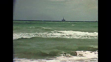 broca : An offshore oil platform of the Miami Beach in Florida in 70s. Historical United States of America in 1978.