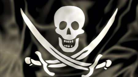 zło : 3D Pirate Flag of Calico Jack Rackham, white skull and swords crossing on black fabric background