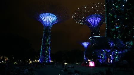 szingapúr : Singapore - April 30, 2018: Garden Rhapsody light and sound shows on Supertree Grove with OCBC Skyway at Gardens by the Bay. Marina Bay Sands on background. Popular tourist attraction. Green lighting.