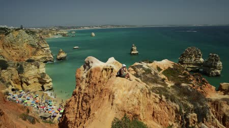 ponta da piedade : the promontory top above Praia do Camilo and Lagos coastline in Portugal. Rocks sandstone formations and pillars near Ponta da Piedade, Lagos, Algarve.