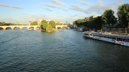 parisli : Paris, France - July 1, 2017: Tourist cruise on Seine river. Bateau mouche from Pont Neuf bridge and Notre Dame church. Tourist travelers in Paris French city at sunset from Pont des Arts bridge. Stok Video