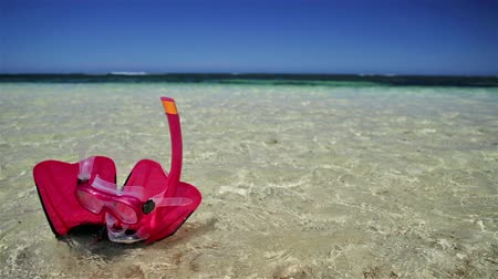 flippers : Close-up of scuba mask with fins in pink color on the sand of Hangover Bay in Nambung National Park, Western Australia. Blue sky. Summer equipment for snorkeling. Stock Footage
