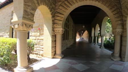 main : Palo Alto, California, United States - August 13, 2018:archway to Main Quad at Stanford University Campus, one of the most prestigious universities in the world, Silicon Valley, San Francisco Bay area