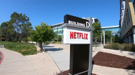 blockbuster : Los Gatos, CA, United States - August 12, 2018: Netflix Headquarters in Silicon Valley. Netflix entertainment service provider for movies and tv series on subscription-based by internet streaming.