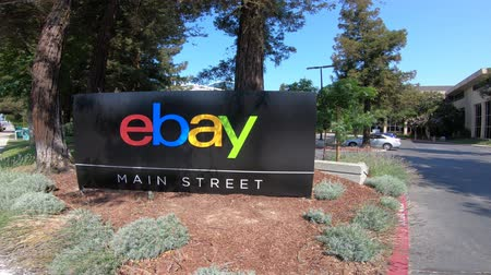 san jose ca : San Jose, California, USA - August 12, 2018: eBay sign at main street of the eBay HQ of San Jose in Silicon Valley, California. eBay Inc. is leader in e-commerce business.