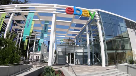 ebay : San Jose, California, USA - August 12, 2018: Facade of the Ebay world headquarters. Ebay is a multinational corporation that provides the main online marketplace and virtual stores in internet.