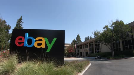 san jose ca : San Jose, California, USA - August 12, 2018: eBay sign at eBays headquarters in San Jose, Silicon Valley, California. eBay Inc. is a multinational corporation, a pioneer in e-commerce.