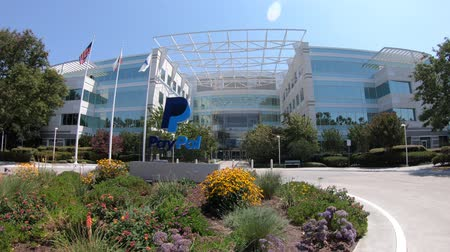 san jose ca : San Jose, CA, United States - August 12, 2018: flags of Paypal Headquarters in Silicon Valley. Paypal is a multinational corporation, a virtual bank for payments of internet business.