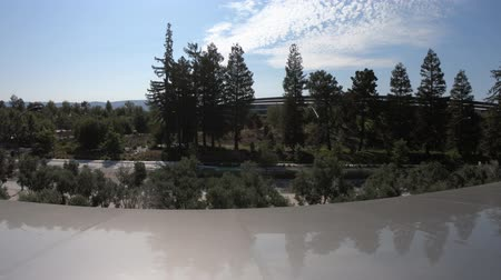 apple headquarter : Cupertino, CA, United States - August 12, 2018: terrace of Apple Park Visitor Center overlooking the new futuristic Apple HQ with Campus. Silicon Valley, south San Francisco bay area.
