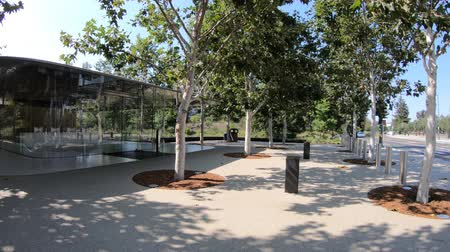 apple headquarter : Cupertino, CA, United States - August 12, 2018: Apple reception of the new HQ in Tantau Avenue of Cupertino in Silicon Valley, California.