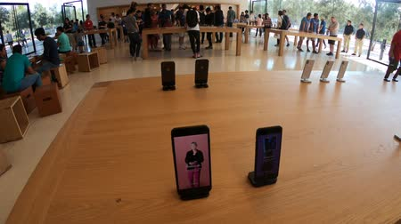 apple park : Cupertino, CA,United States - August 12, 2018: maxi screen in the new Apple store and Headquarters of Apple Park Visitor Center, Tantau Avenue, Cupertino, Silicon Valley, California