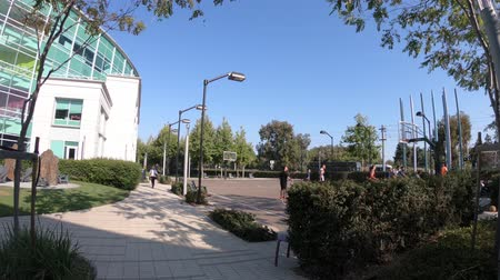 silicon : Sunnyvale, California, United States - August 13, 2018: Modern architecture of Google Tech Corners, the Google Campus in Sunnyvale, Silicon Valley, CA, San Francisco Bay. Building TC3.