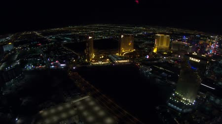 bellagio : Las Vegas, Nevada, United States - August 18, 2018: aerial view of Las Vegas Strip night. Scenic night flight above: Trump International Hotel, The Palazzo, The Mirage, The Venetian, Bellagio Casino