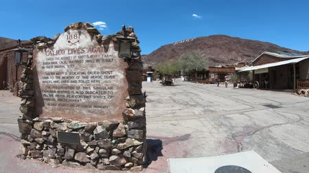 mines : Calico, California, United States - August 15, 2018: Calico is an abandoned mining town now historic heritage park in southern California and Mojave desert, founded in 1881 near a rich silver mine. Stock Footage