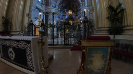 madona : Bologna, Italy - September 29, 2018: Altar and apse of Madonna of San Luca Sanctuary with icon painting of the Holy Mary with the child. Faithfuls sitting pray