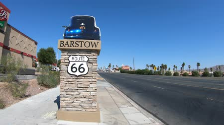eyaletler arası : Barstow, California, USA - August 15, 2018: Barstow Sign on Route 66, Main Street in San Bernardino County, an important transportation center for Inland Empire in Southern California.