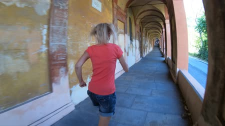 madona : San Luca Sanctuary archway: the longest in the world leading to Bologna city downtown in Italy.