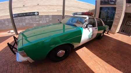 sheriff : San Diego, California, USA - August 2, 2018: Classic green Chevrolet Caprice car of old San Diego Sheriff of 1970s at historic police museum. Sheriffs Museum of Old Town of San Diego.