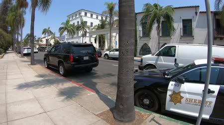sheriff : SANTA BARBARA, Los Angeles, California, USA - August 10, 2018: modern Ford sheriff and law enforcement Police cars of SANTA BARBARA County in Colonial District.