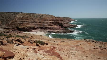australian landscape : Coral coast, Indian Ocean, Australia. Panorama of the Eagle Gorge Lookout platform in Kalbarri National Park, Western Australia. Popular travel destination with blue sky.