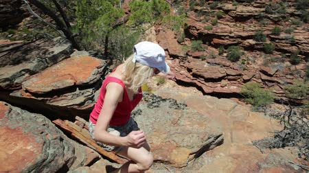 np : Happy blonde woman enjoying at Z-Bend lookout to Murchison River in Kalbarri National Park, Western Australia. Freedom caucasian traveler in outback of Australia. Blue sky, summer season. Copy space.