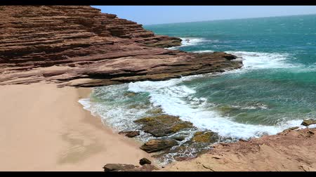 australian landscape : Scenic aerial view of Pot Alley in Kalbarri National Park, Western Australia from Pot Alley lookout. Rugged sandstone, Coral coast in turquoise Indian Ocean. Stock Footage