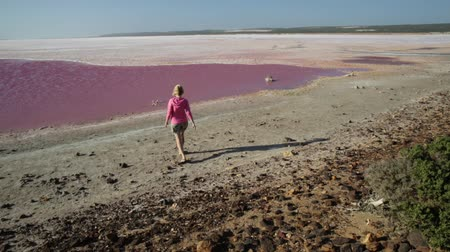 salt lagoon : Carefree tourist woman walking to the Pink Lake in Port Gregory, Western Australia. Blonde caucasian young in Hutt Lagoon, Australia. Sunny day with blue sky, summer holiday. Stock Footage